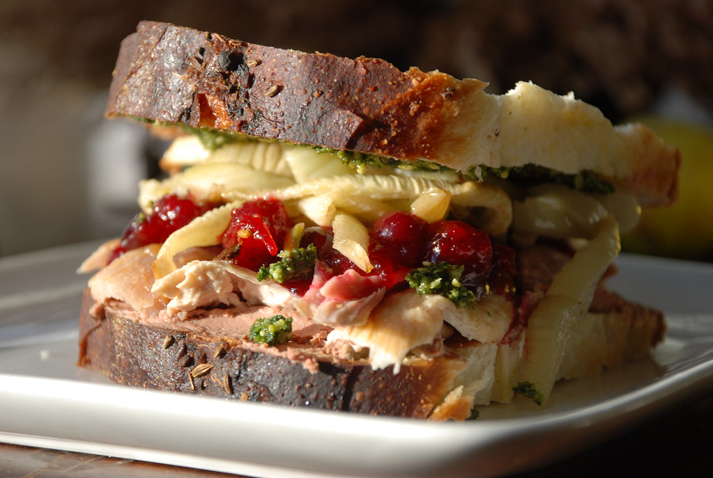 turkey sandwich (with notes) from Thanksgiving leftovers