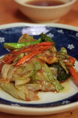 sauteed vegetables in garlic miso sauce