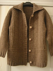 Fylingdales (GFTC) Tags: wool sweater buttons handknit cables rib collar 2009 cardigan buttonholes stockinette ecowool irishmossstitch