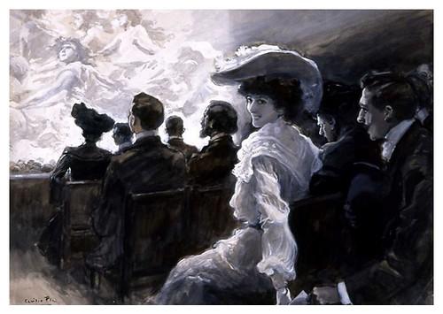 I.E.A. 15 DICIEMBRE 1905 - 2.º N.º XLVI. Pág. 360-361.CARTA A ESCONDIDAS EN EL TEATRO- DIBUJO DE CECILIO PLÁ
