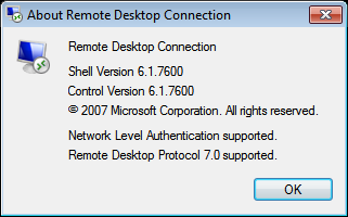 MSTSC showing Network Level Authentication Supported