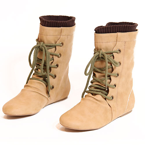 taupe rope tie jungle boots