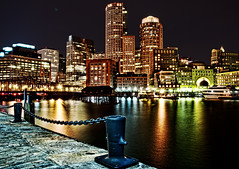 Boston Waterfront (Michael_Underwood) Tags: city longexposure boston night cityscape hdr topaz adjust fanpier bostonmassachusetts nikond90 bostonwaterfront nikon1685vr
