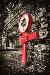 The Weighing Machine (Hazeldon73- catching up !) Tags: red white black abandoned contrast mono high