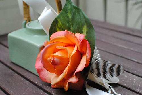Real Touch Caroline Rose Corsage in Orange