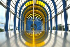 Yellow & Blue (HannyB) Tags: bridge blue reflection station yellow architecture interestingness geometry 100v10f trainstation zoetermeer jbak 30faves30comments300views nelsonmandelabrug arnoldhamelberg