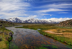 Eastern Sierra's Hot Creek (Dave Toussaint (www.photographersnature.com)) Tags: road ca city travel blue sky usa cloud mountain snow cold nature water northerncalifornia june creek photoshop canon landscape photo interestingness interesting skies photographer cs2 magic picture sierra explore adobe mammoth nights hwy395 eastern hdr 1001 easternsierras longvalley highway395 hotcreek owensriver 2011 photomatix denoise 60d topazlabs photographersnaturecom davetoussaint ringexcellence