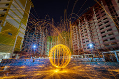 Rochor Centre [Explored] (BP Chua) Tags: singapore steelwool spinning round circle fire rochor centre hdb housing colors asia night canon sparks