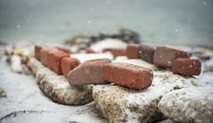 Bricks Arranged on the Lakeshore (PureWest) Tags: bricks lakeontario cold snow humberbaypark toronto
