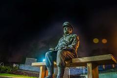 Take a seat (Tony Shertila) Tags: 20170204232308 england gbr thetford unitedkingdom geo:lat=5241371382 geo:lon=074593037 geotagged europe britain norfolk dadsarmy captainmainwering arthurlowe night outdoor sculpture person portrait tvseries
