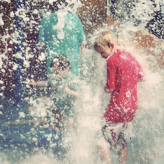 Pelting down (Kerrie McSnap) Tags: water kids children square nikon mood child atmosphere splash townsville waterpark d60