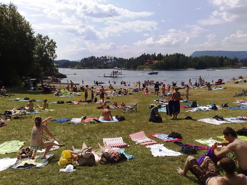 Hot summer at the beach in Oslo Norway #1