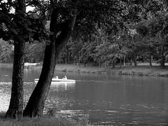 Summer Afternoon (JoannaRB2009) Tags: trees blackwhite pond kayaking