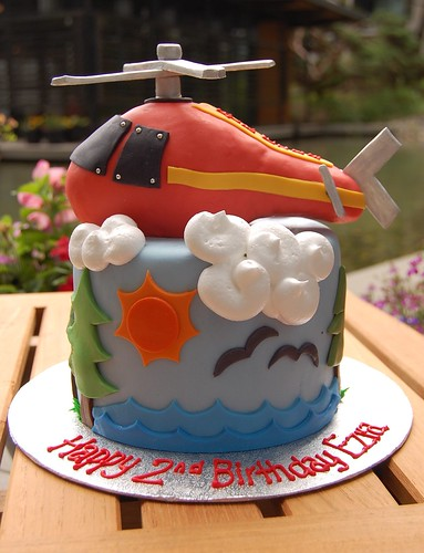 Ezra's Helicopter Cake - sunny side