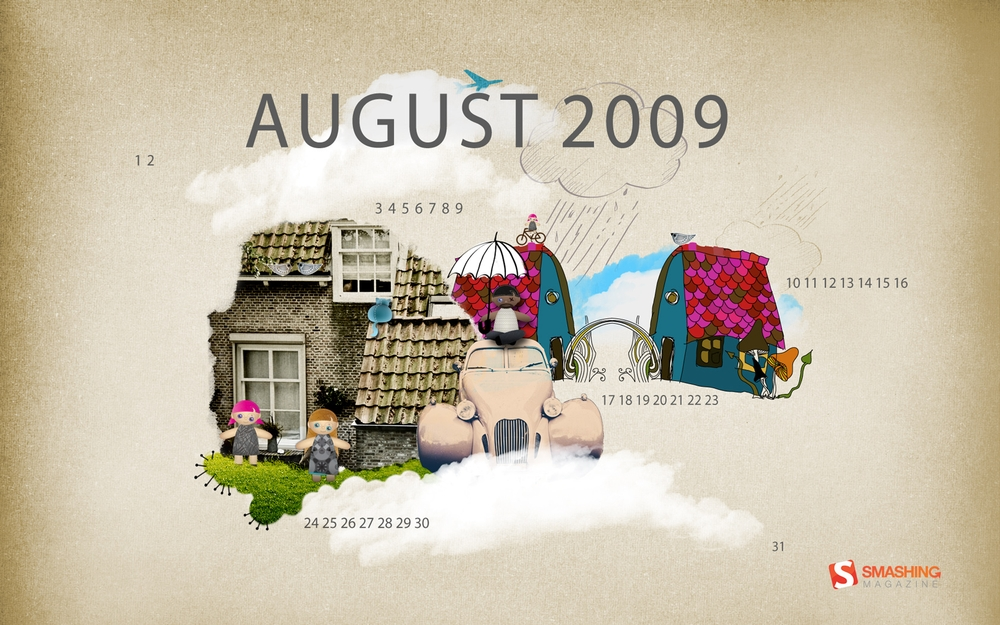 2009년 8월 배경화면 달력
