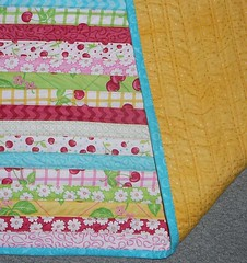 honey bun quilt with backing (mini_milly04) Tags: pink flowers baby flower yellow quilt stripes quilting quilted honeybun babysquilt