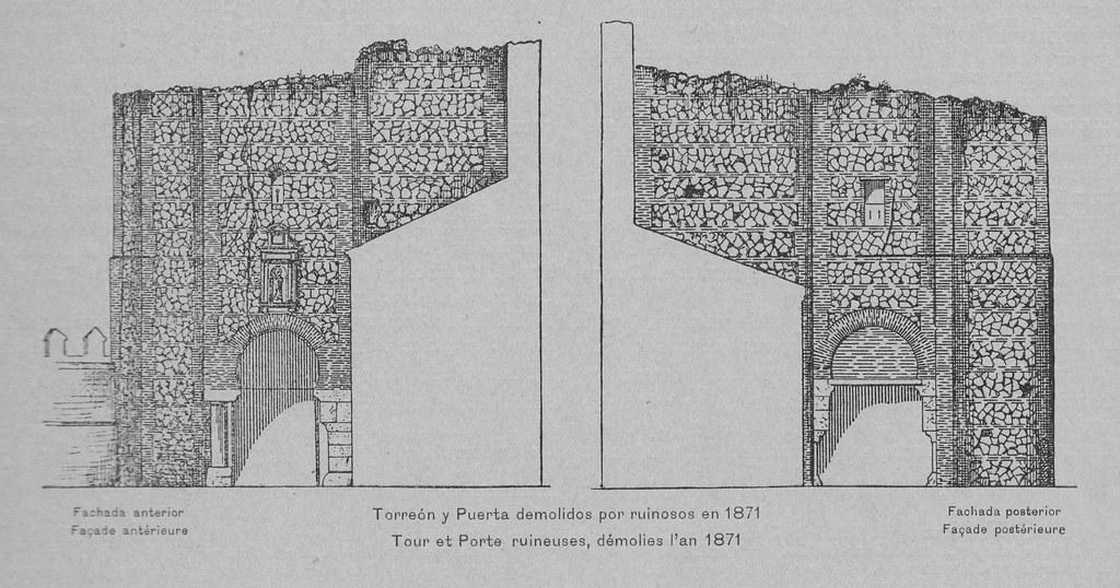 Puerta de San Ildefonso de Toledo, demolida en 1871. Grabado de Amador de los Ríos. Monumentos Arquitectónicos de España