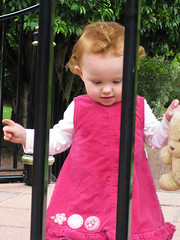 garden girl 1 = looking through the bars, bear in hand...