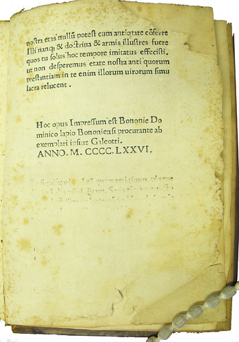 Colophon in Martius, Galeottus: Refutatio obiectorum