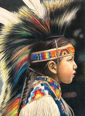 Boy with Headdress (Diana Lee1) Tags: art ink fineart colorpencil inkart scratchboard scratchboardart colorscratchboard