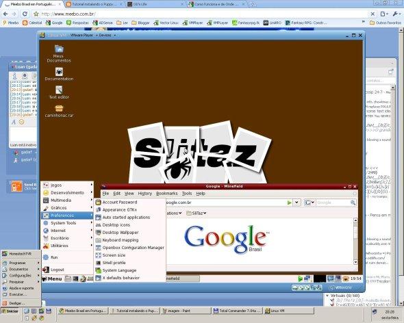 SliTaz rodando sobre o VMWare Player.