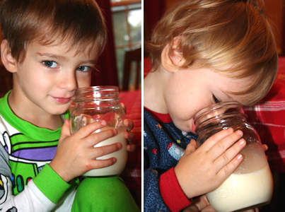 boys drinking raw milk