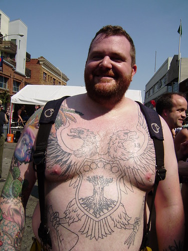 FOLSOM STREET FAIR 2009 HOT GUYS big tat bear. FOLSOM STREET FAIR 2009. THANK YOU for all the cool men and beautiful women who let me take their photos!