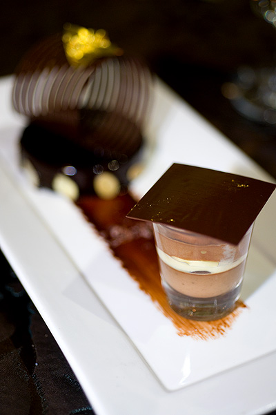 Chef Francois Payard's Palet d'or with hot and cold chocolate, as served at the Four Seasons Bangkok World Gourmet Festival's Gala Dinner