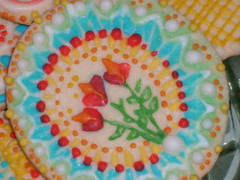 more flowers (sally apple) Tags: blue red orange white flower green yellow cookie royal sugar icing dots zigzag sugarcookie royalicing piped