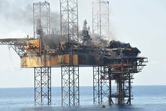 Burning Oil Platform