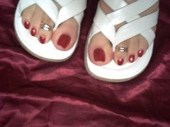 rojo y rojo (sandalman444) Tags: red men hand sandals nail polish made pedicure custom toenails longtoenails toerrings