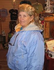Sylvia in coonskin cap