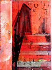 red staircase (joycehillstudio) Tags: red streetart art collage painting graffiti photo buffalo artist acrylic mixedmedia events small spray announcement textures joyce works spattering