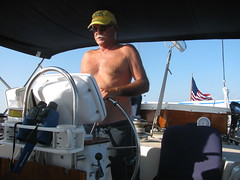 Capt. Ron at the steering wheel