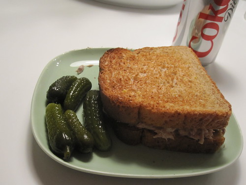 Tuna sandwich, pickles, Diet Coke