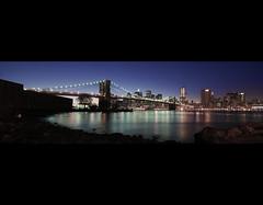 brookyln bridge (bantozai) Tags: city newyorkcity panorama usa architecture night nikon brookylnbridge d80