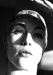 The window to her soul was open... (Panic_Button) Tags: light shadow portrait bw woman window face female self glare lips windowtomysoul