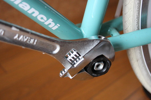 Loosen bottom bracket (left side)