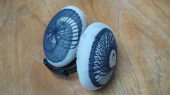 Spirograph'ed ear muffs (meadowlarkee) Tags: earmuffs recycling spirograph earwarmers