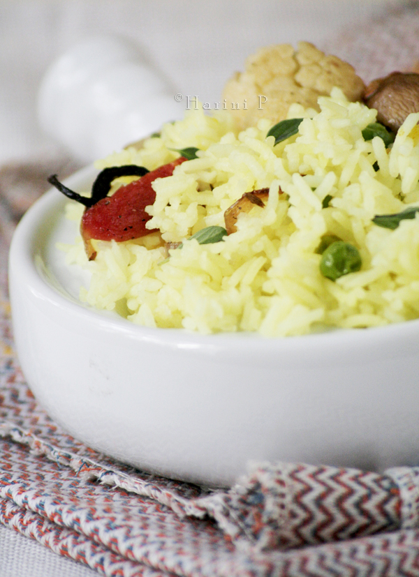 Marjoram flavoured Rice with Grilled Vegetables