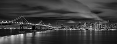 San Francisco from Treasure Island, California (maxxsmart) Tags: sanfrancisco california longexposure bw panorama storm water rain skyline clouds canon lights bay cityscape treasureisland clocktower baybridge embarcadero bayarea ferrybuilding transamerica marketstreet portofsanfrancisco dogpatch pier7 ef2470f28l hillsbroscoffee 5dmarkii