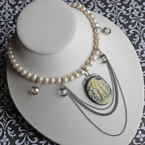 Cameo with pearls and antique crystals