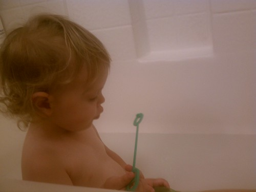 Blowing bubbles in the bath