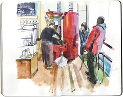 Coffee, Chocolate & Tea (Wil Freeborn) Tags: street moleskine coffee sketch tea chocolate glasgow journal argyle