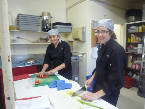 Amirah and Caroline chopping away