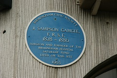 Photo of Joseph Sampson Gamgee blue plaque