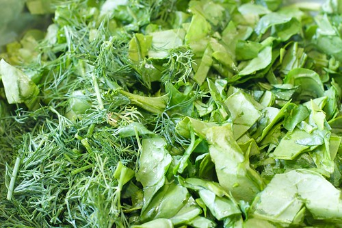 Chopped Dill and Spinach