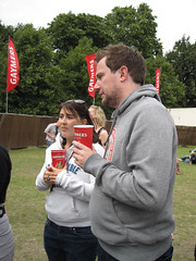 Lovebox Weekender (russelljsmith) Tags: uk friends england music woman man london beer festival fun concert holding victoriapark couple europe gig cups drinks drunks 2009 grounds lovebox sweatshirts loveboxweekender 77285mm loveboxweekender2009 lovebox2009 lastfm:event=861454