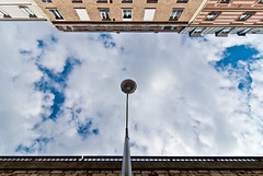 I keep an eye on you ! (janbat) Tags: street blue sky cloud paris france building nikon tokina bleu ciel d200 nuage rue f4 caméra immeuble lampadaire 1224 jbaudebert