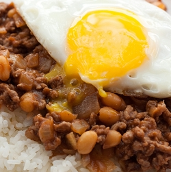 Minced Meat & Baked Beans with Rice & A Sunny Side Up!